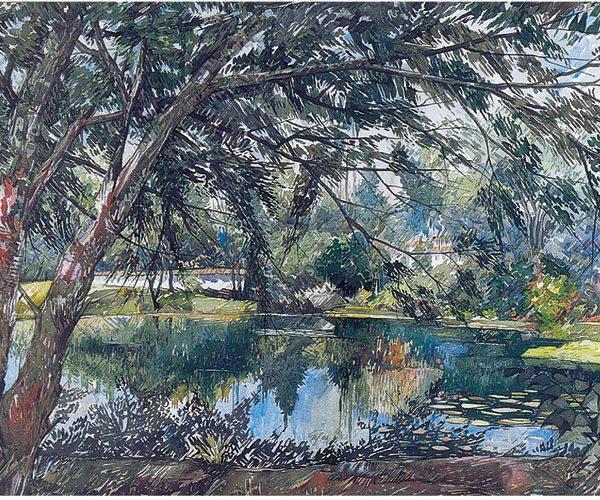 el bosque 1983 75 x 100 cm acuarela obra artista anibal gil colombia