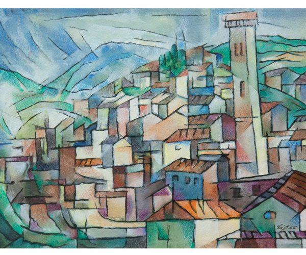 fiesole 1956 36 x 47 cm acuarela obra artista anibal gil colombia