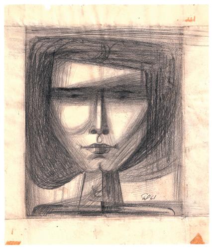 Cabeza 1961 23 x 20 cm dibujo obra artista anibal gil colombia