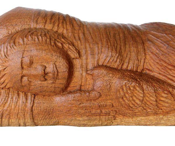 mujer con paloma 1992 30 x 50 cm talla en madera escultura obra artista anibal gil colombia