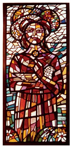 mujer coronada 1979 150 x 70 cm vitral obra artista anibal gil colombia